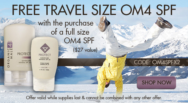 Free Travel Size OM4 SPF with the purchase of a full size OM4 SPF